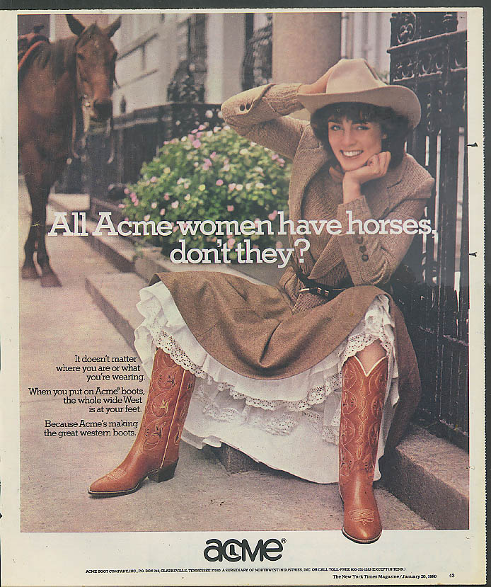 All Acme women have horses, don't they? Acme Boots ad 1980