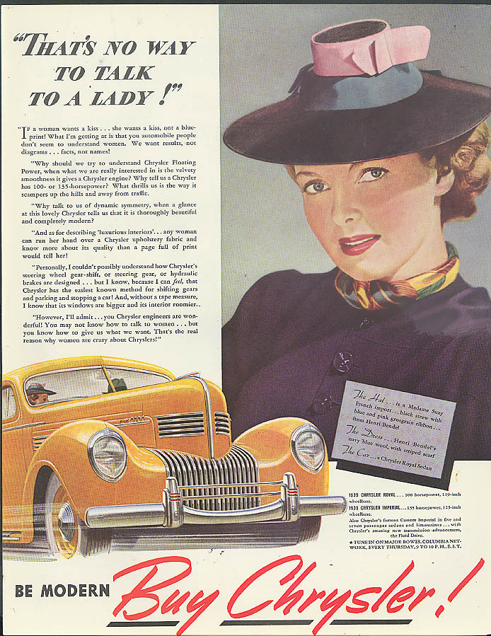 Image for That's no way to talk to a lady! Chrysler Royal ad 1939 Madame Suzy hat