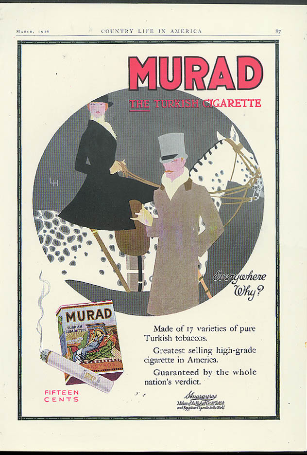 Image for Made of 17 varieties of pure turkish tobaccos Murad Cigarettes ad 1916