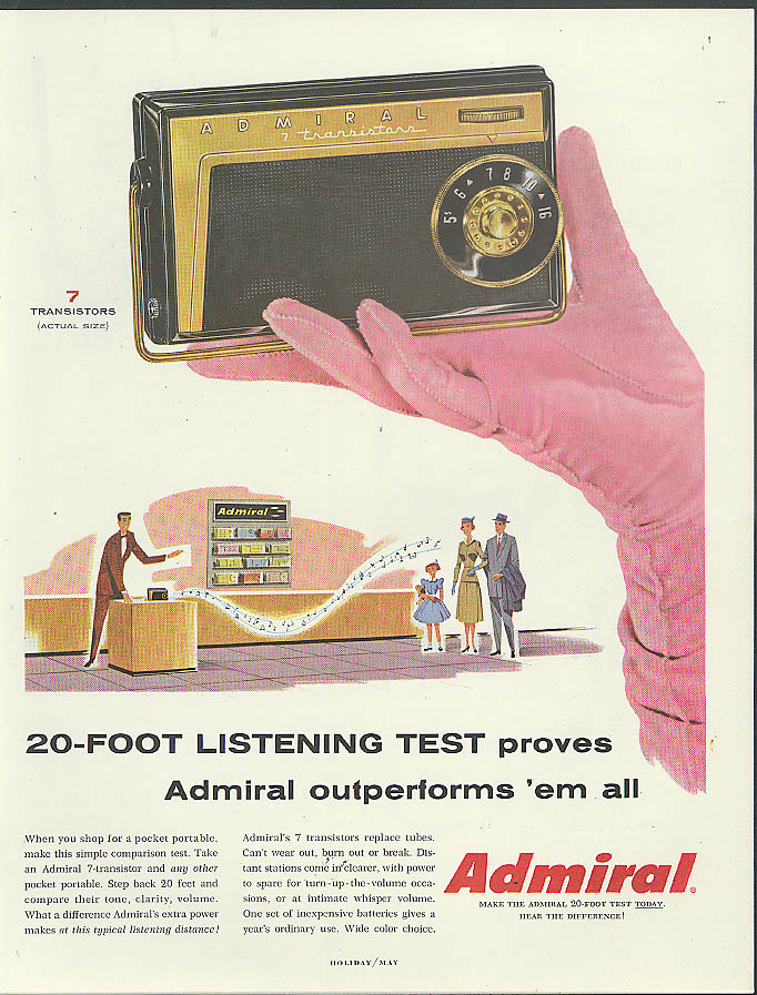 20-foot listening test Admiral Transistor Radio outperforms them all ad 1957