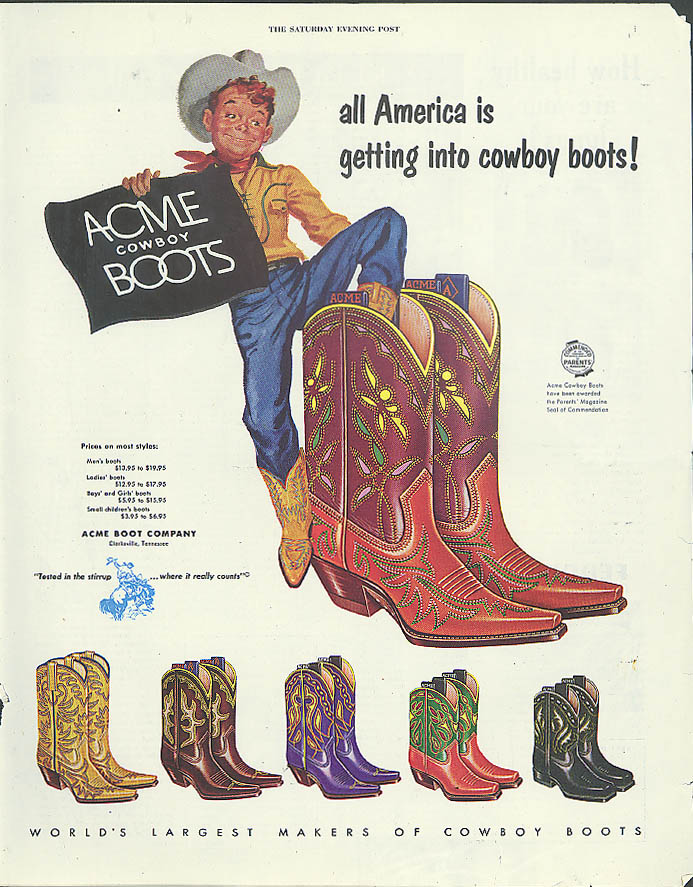 All America is getting into Acme Cowboy Boots ad 1953