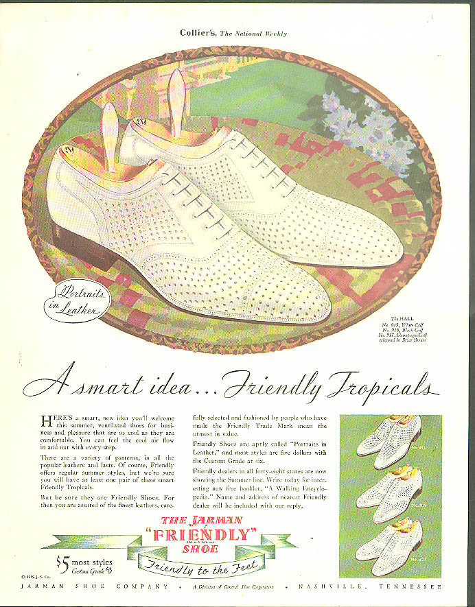 A smart idea Friendly Tropicals Jarman Shoes ad 1935