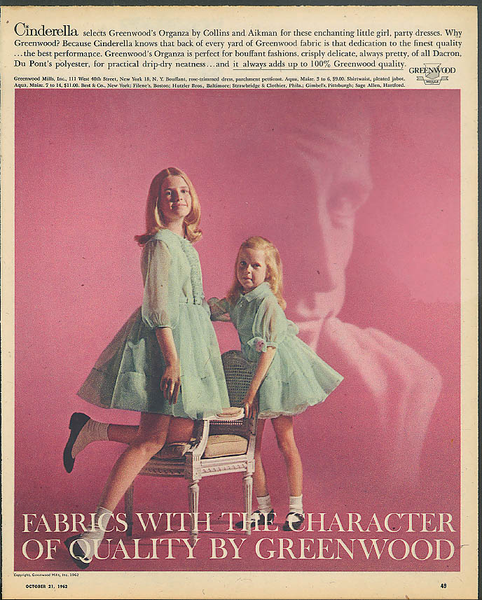 Cinderella Organza little girls party dresses Greenwood Mills ad 1962