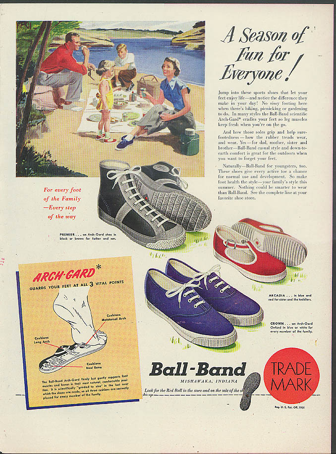 A Season of Fun for Everyone! Ball-Brand Sneakers Sports shoes ad 1949