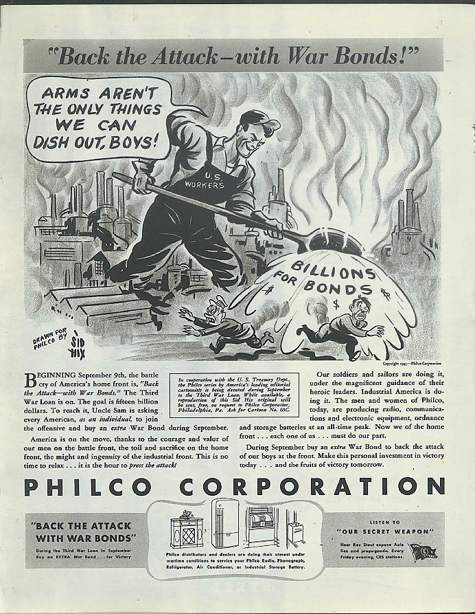 Back the Attack with War Bonds Philco ad 1943 molten bath for Tojo & Hitler