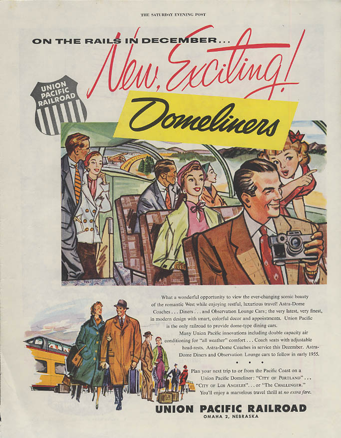 Image for On the rails in December New Exciting Union Pacific RR Domeliners ad 1954