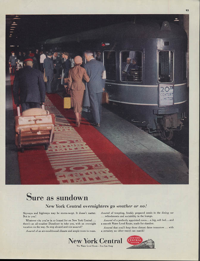 Image for Sure as sundown New York Central overnighters go weather or no! ad 1951