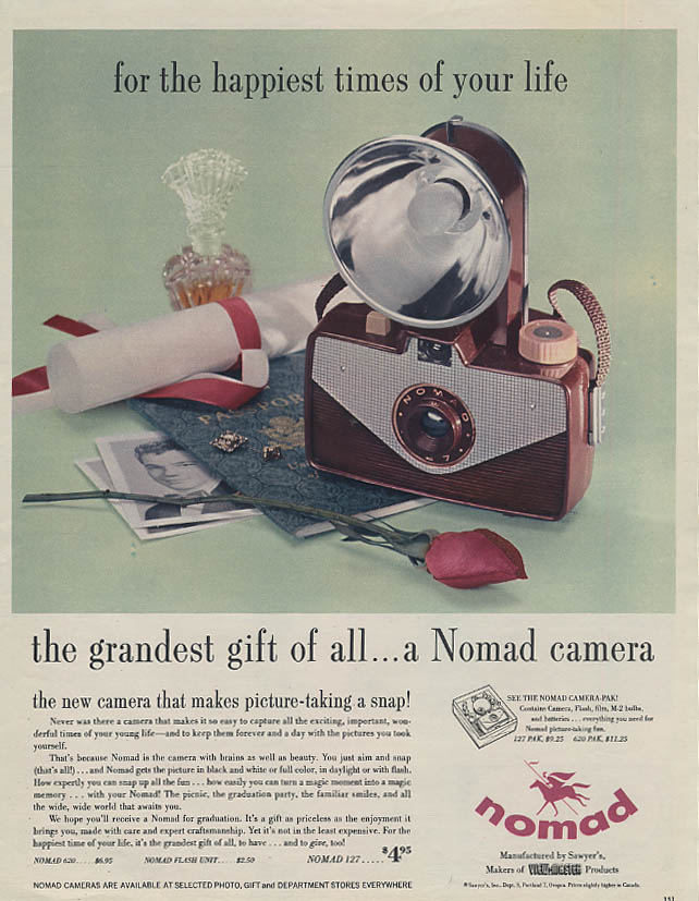 For the happiest times of your life grandest gift of all Nomad Camera ad 1957