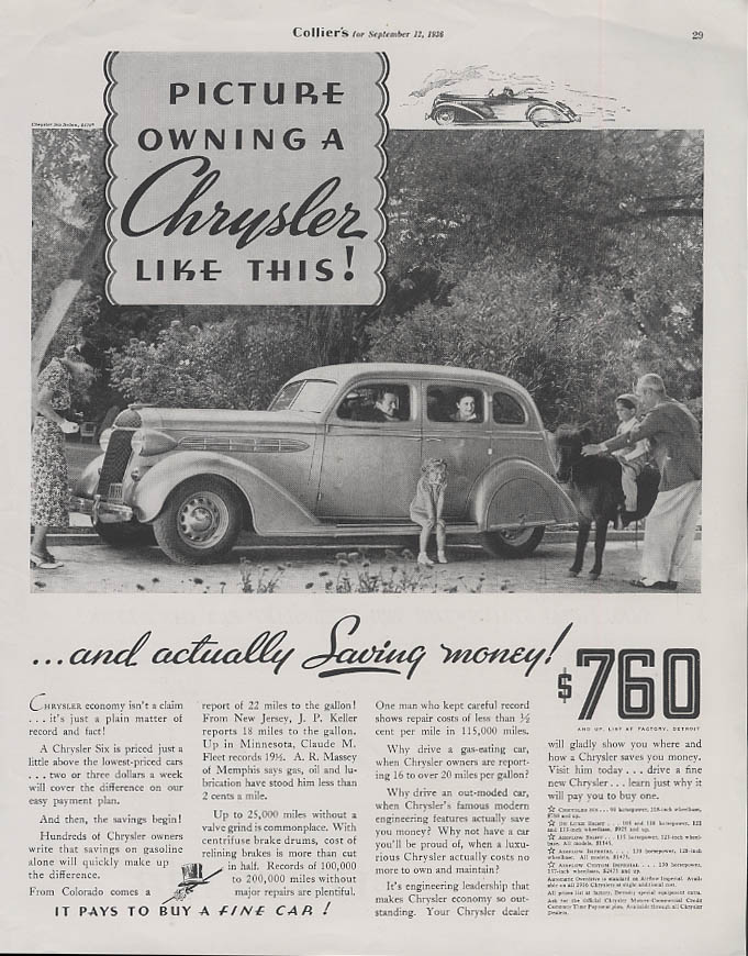 Image for Picture owning a Chrysler Six like this & actually Saving money! Ad 1936 Sedan