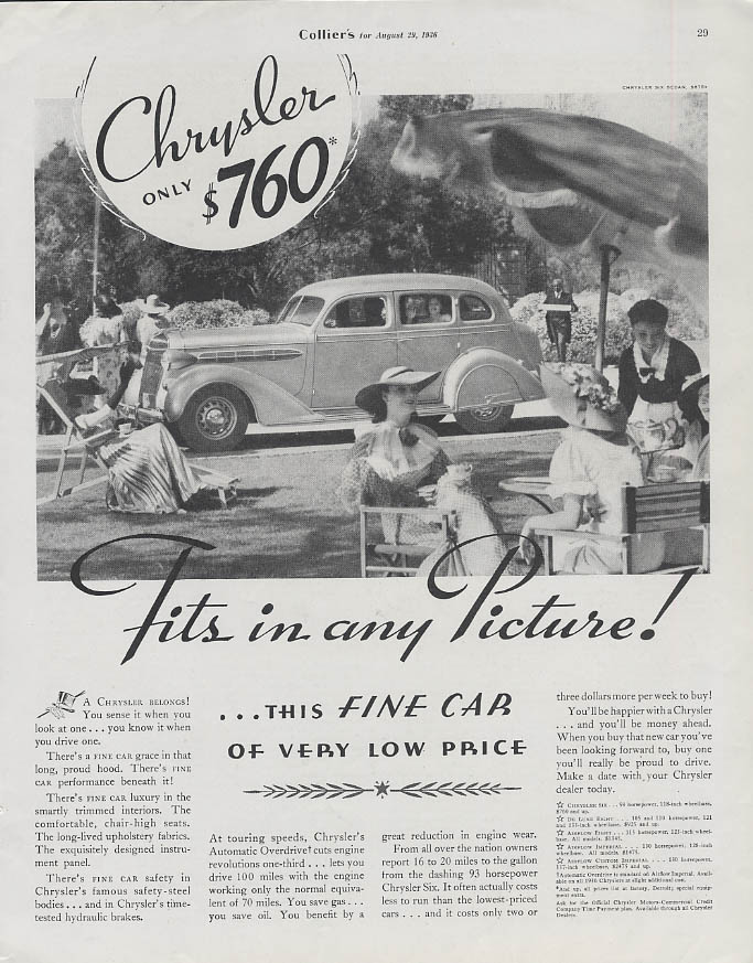 Image for Fits in any Picture! Chrysler Six 4-door sedan ad 1936