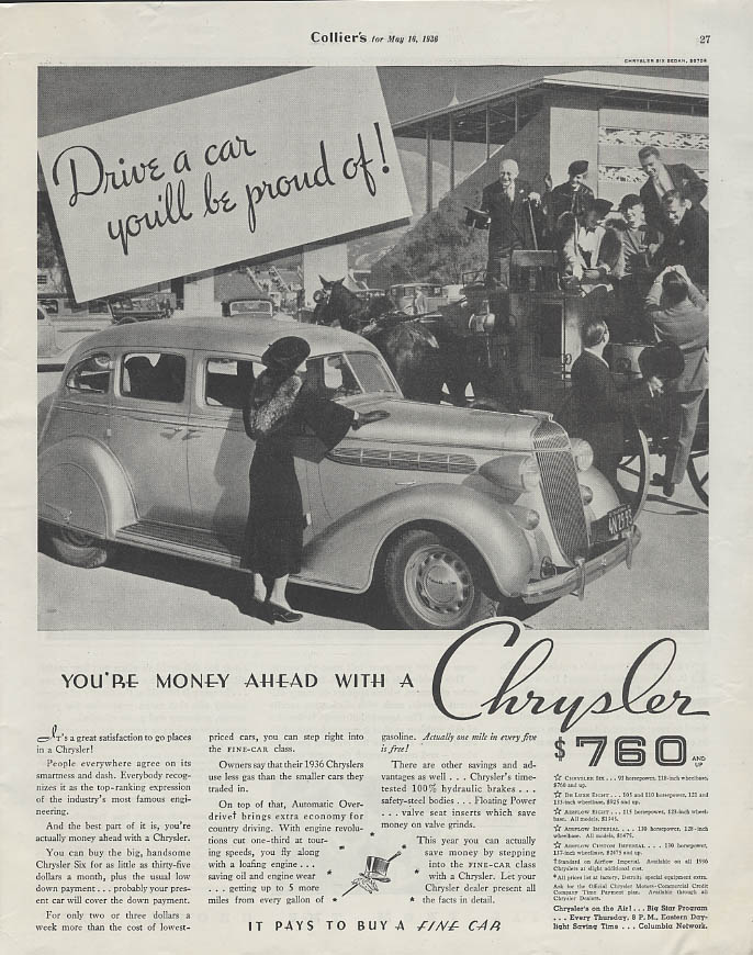 Image for Drive a car you'll be proud of! Chrysler Six 4-door Sedan ad 1936