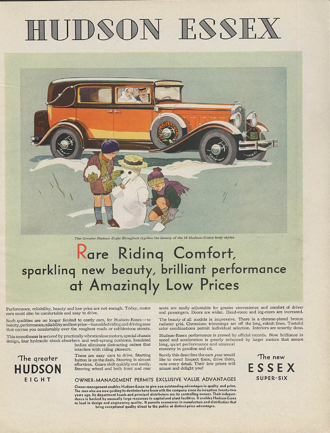 Image for Rare Riding Comfort Hudson Eight Brougham ad 1931 kids make snowman