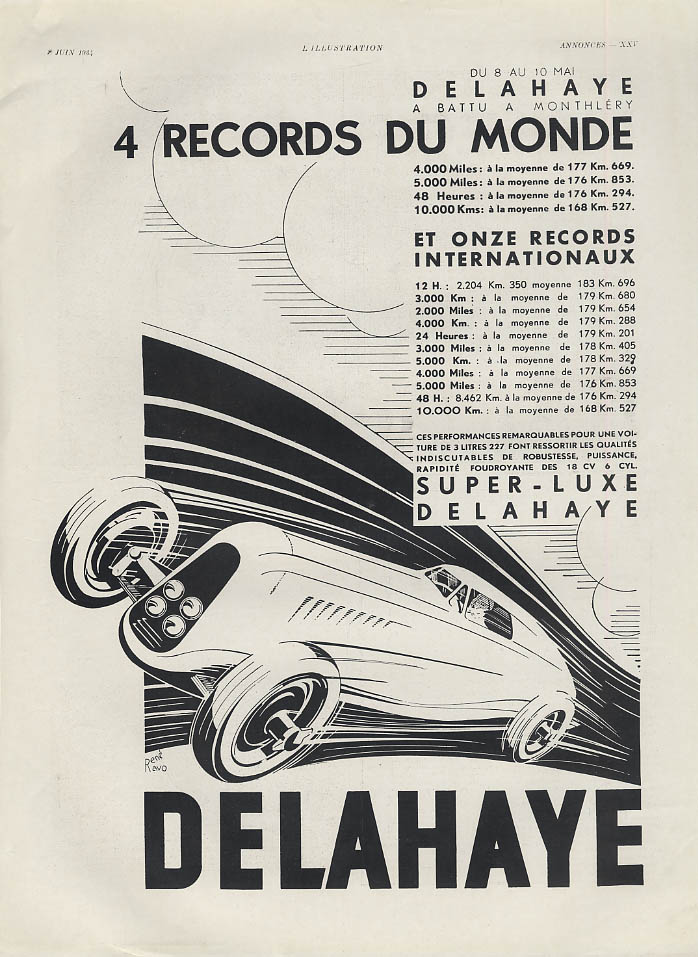 4 records du monde Onze records internationaux Delahaye ad 1934