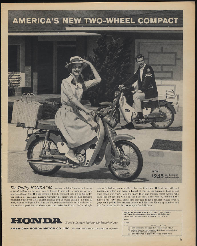 America's new two-wheel compact Honda 50 Motorcycle ad 1962