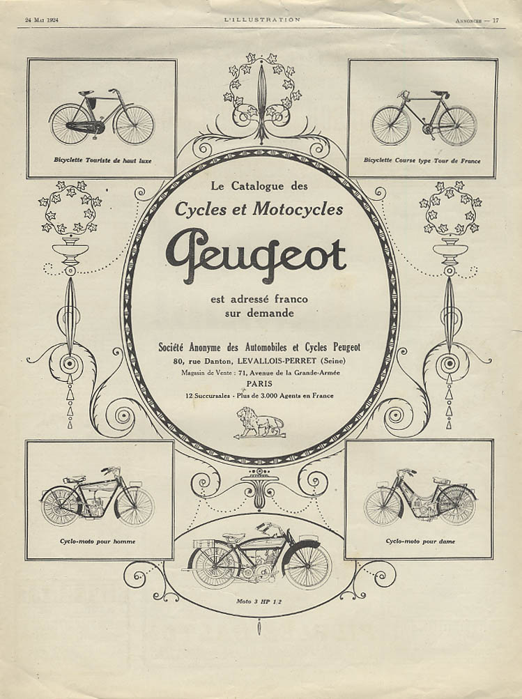 Cycles et Motorcycles Bicyclette Cyclo-moto Peugeot ad 1924