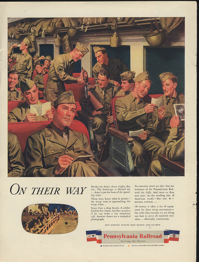 Image for On their way Pennsylvania Railroad troop train ad 1944