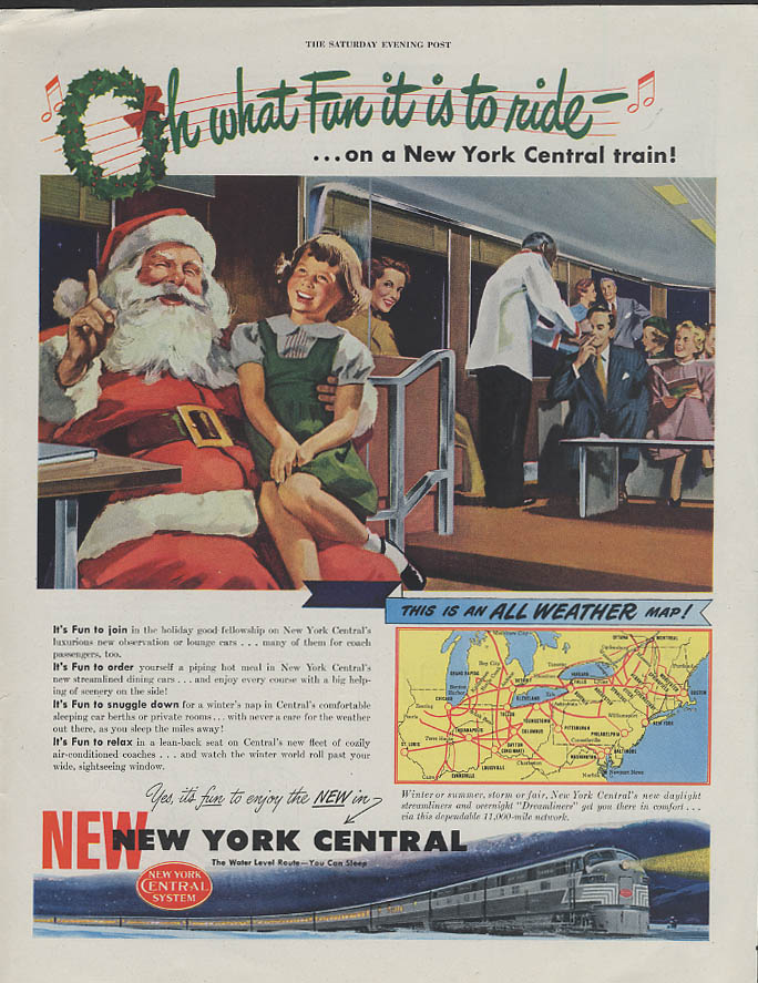 Image for Oh what fun it is to ride New York Central RR ad 1948 Santa Claus