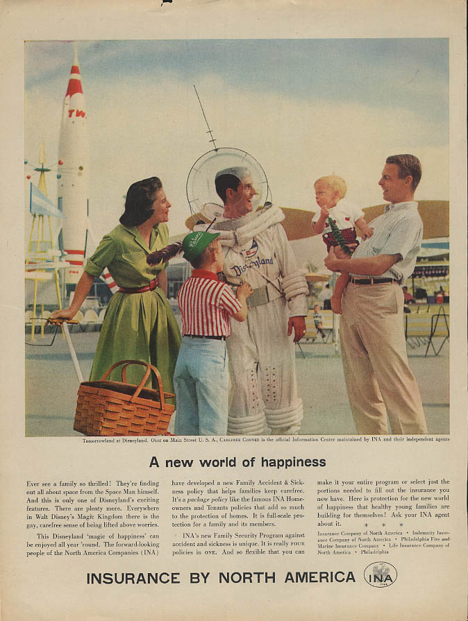 A new world of happiness Disneyland Insurance Company of North America ad 1957