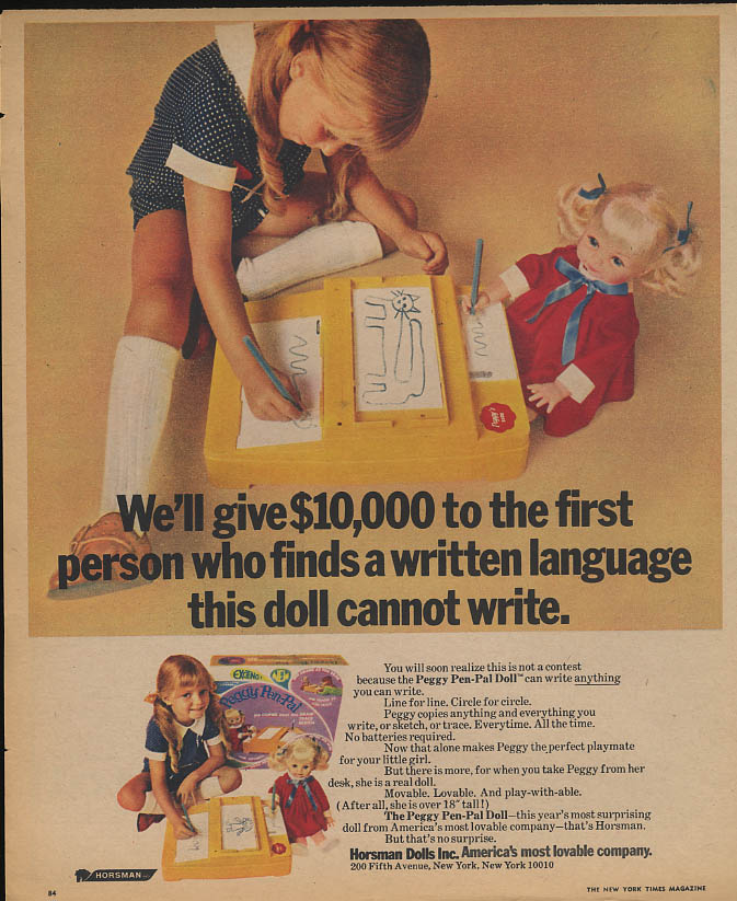 $10,000 to the first written language Peggy Pen-Pal Doll can't write ad 1970
