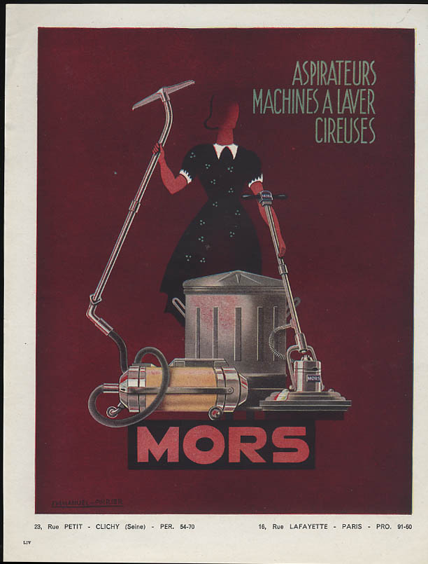 Aspirateurs Machines a Laver Cireuses Mors Vacuum Cleaner ad 1948 France