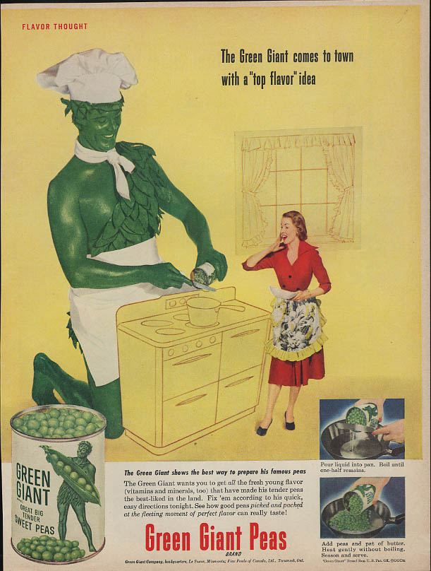 Image for The Green Giant comes to town with a top flavor idea Green Giant Peas ad 1952