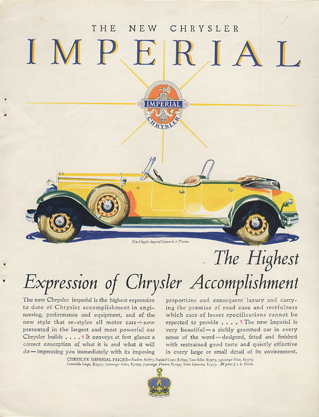Image for The Highest Expression of Chrysler Accomplishment Chrysler Imperial ad 1929