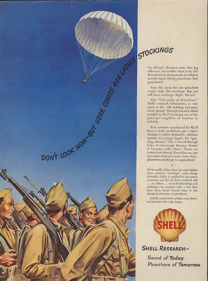 Don't look now but here comes 444 ladies stockings Shell Parachute ad 1943