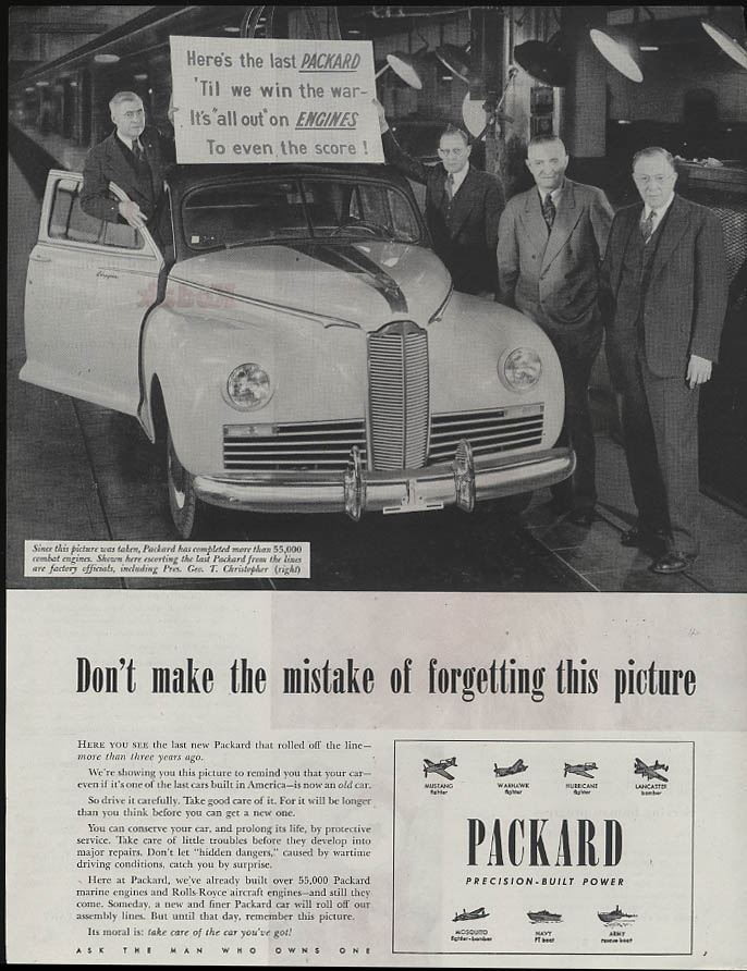 Don't make the mistake of forgetting this picture 1942 Packard ad 1945