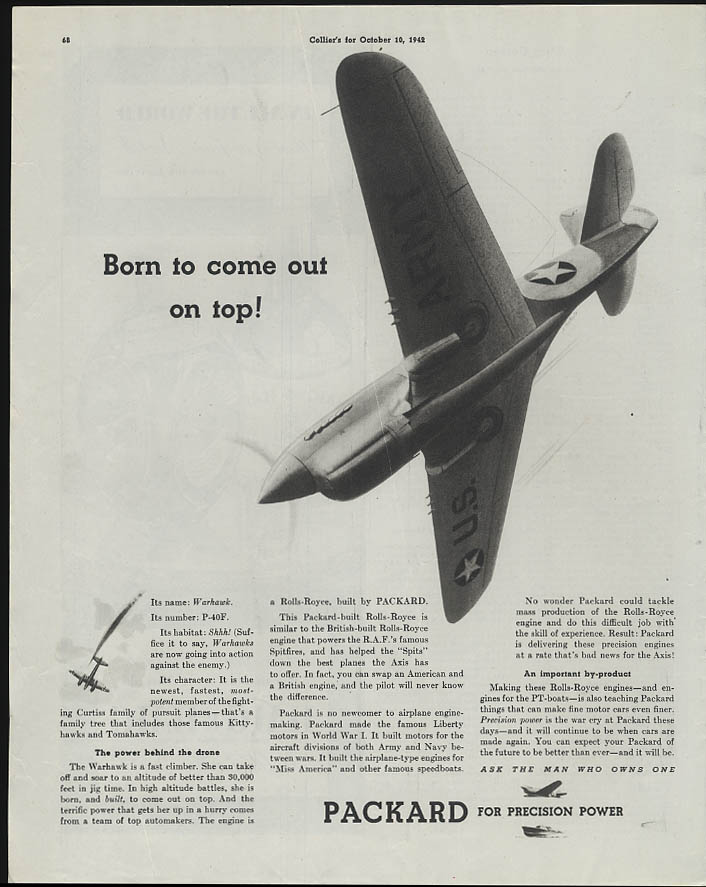 Born to come out on top! Curtiss P-40F Warhawk Packard engine ad 1942