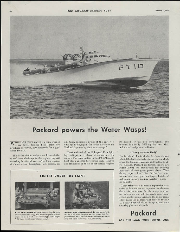 Packard powers the Water Wasps! Elco PT-10 PT Boat ad 1941