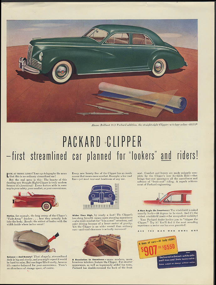 First streamlined car planned for lookers AND riders Packard Clipper ad 1941