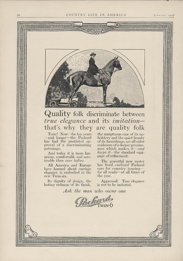 Quality folk discriminate between elegance & imitation Packard Twin-6 ad 1917