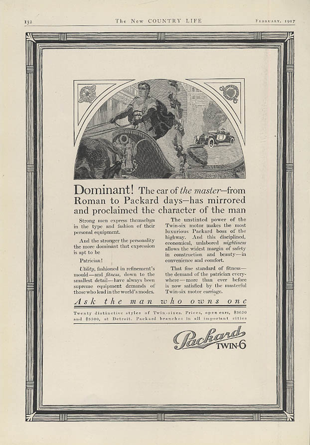Dominant! The car of the master from roman to Packard days Twin-6 ad 1917