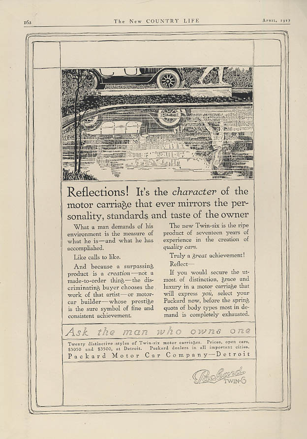 Reflections! Character mirrors personality of the owner Packard Twin-6 ad 1917