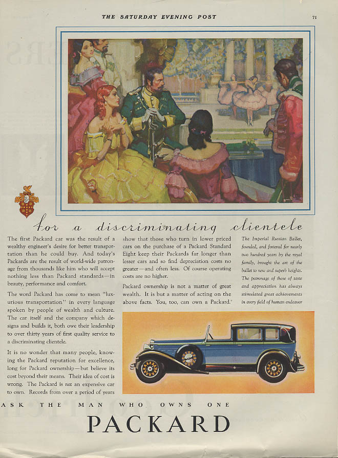 For a discriminating clientele Packard Town Car ad 1931 SEP