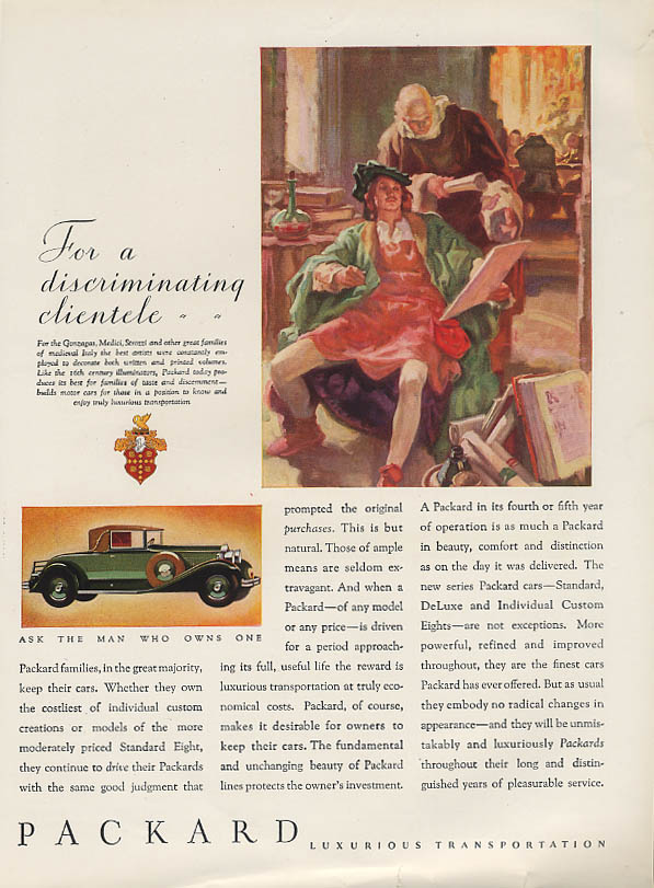 For a discrminating clientele Packard Cabriolet Coupe ad 1931