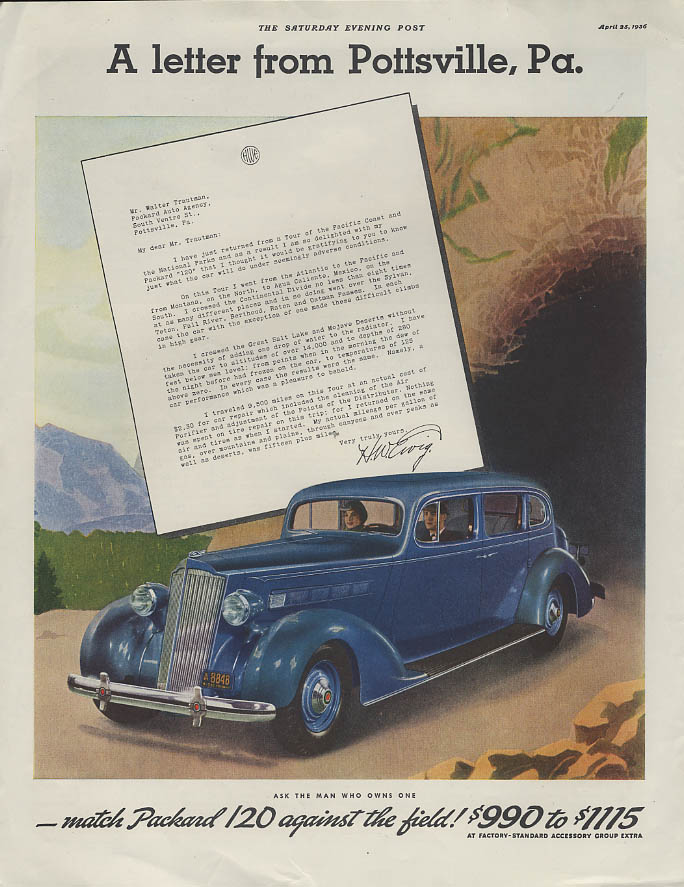 A letter from Pottsville Pa. Packard 120 4-door Sedan ad 1936