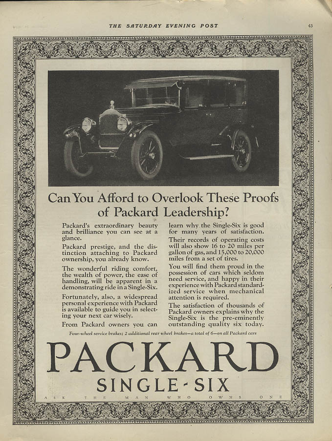 Can You Afford to Overlook These Proofs of Leadership Packard Single-Six ad 1924
