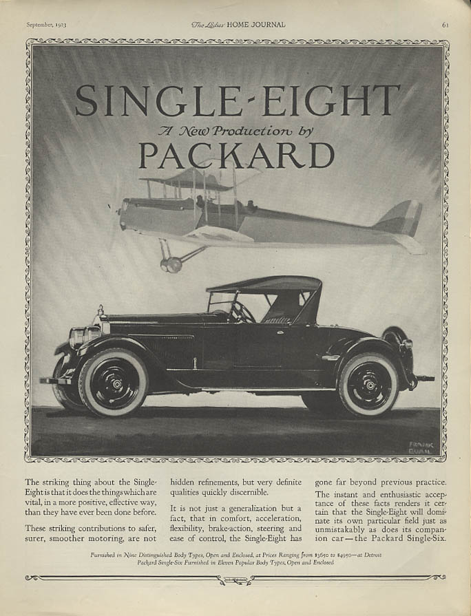 Single-Eight Packard a New Production roadster ad 1923 biplane