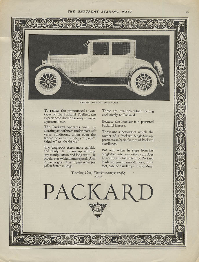 The pronounced advantage of the Packard Fuelizer Single Six Coupe ad 1923