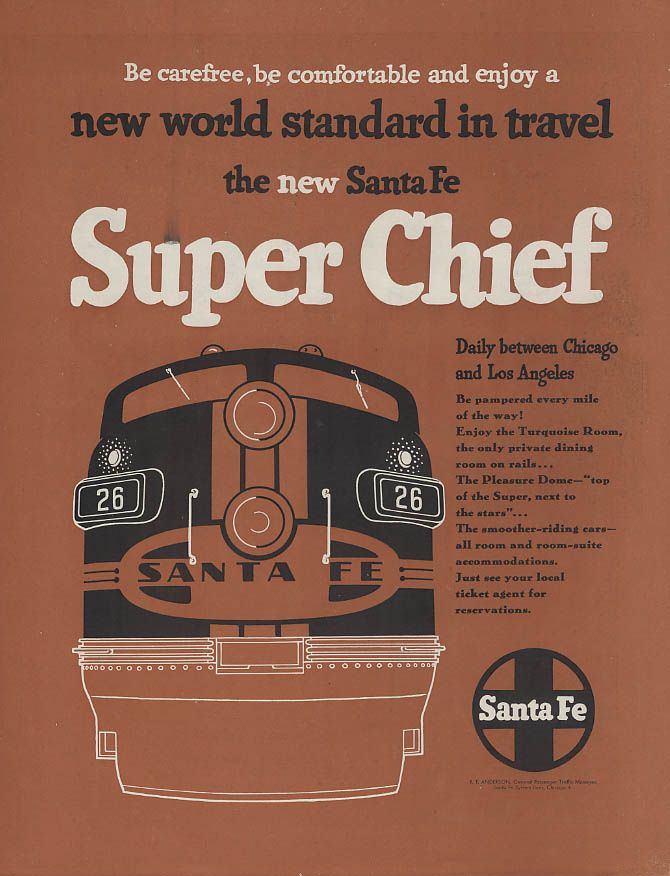 Image for New world standard in travel the Santa Fe Rr Super Chief ad 1951