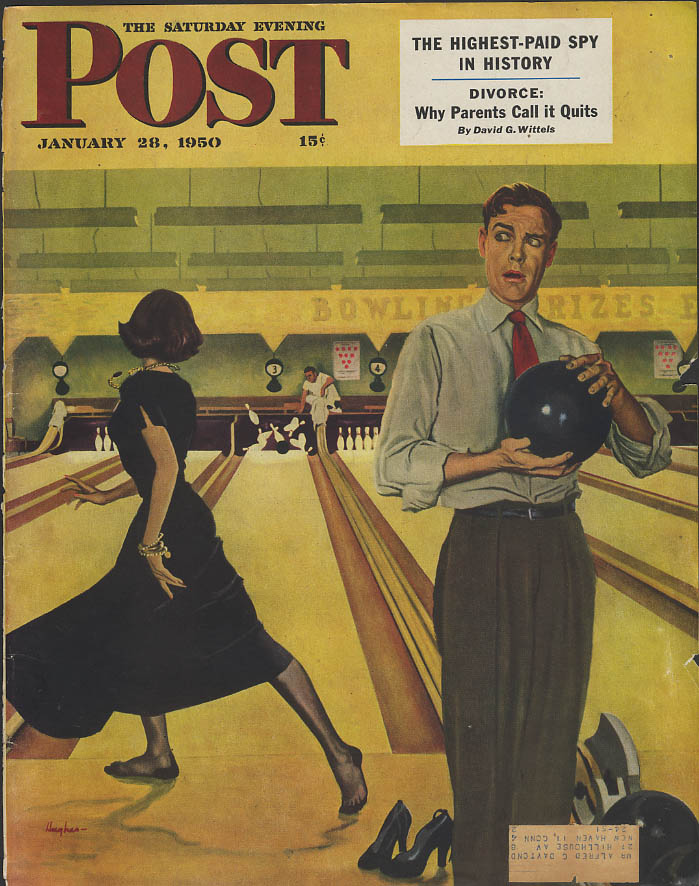 Image for Woman bowls tenpin strike man afeared Saturday Evening Post COVER ONLY 1950