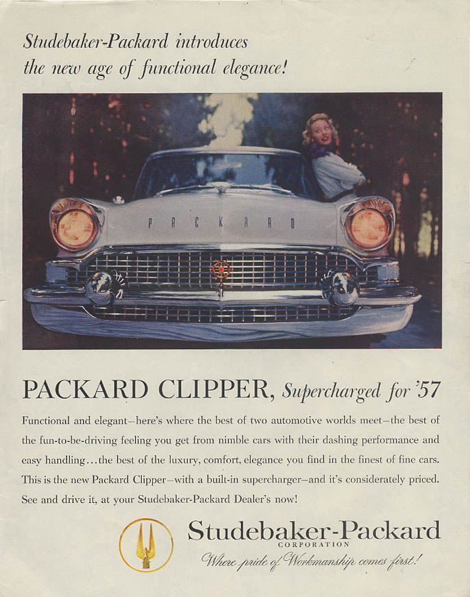 The new age of functional elegance Packard Clipper Supercharged for 1957 ad