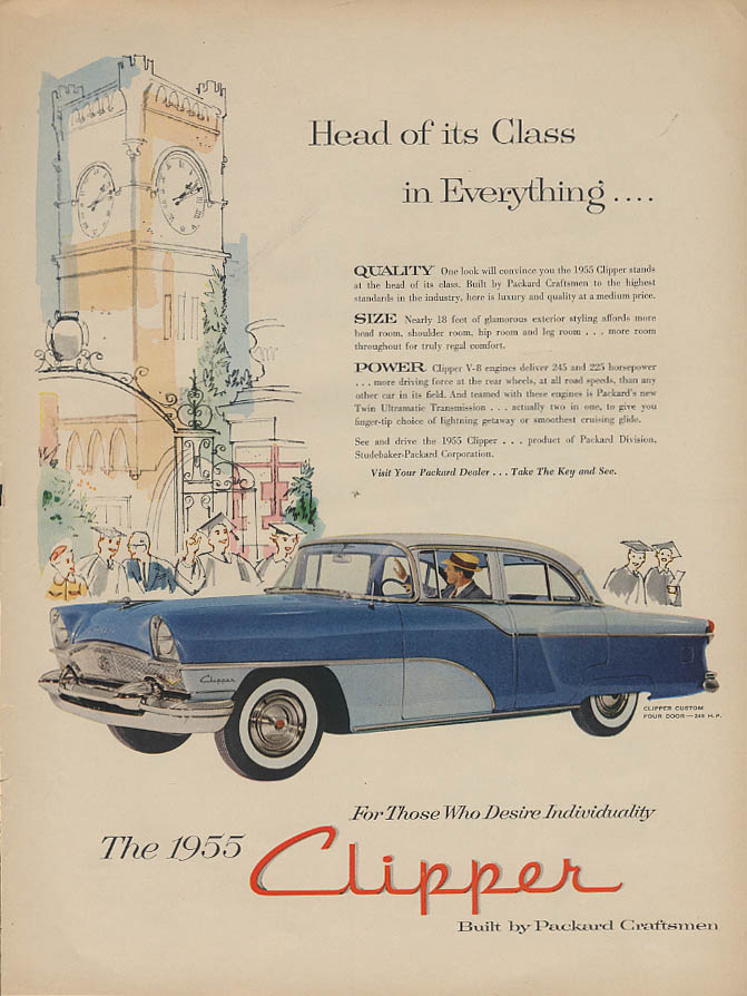 Head of its Class in Everything . . Packard Clipper Custom ad 1955 Life