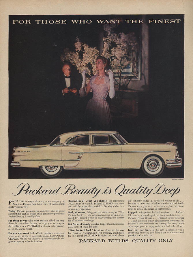 For Those Who Want the Finest Packard Beauty is Quality Deep ad 1954