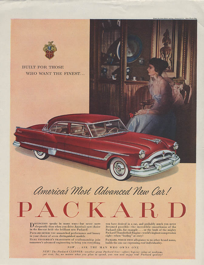 America's Most Advanced New Car! Packard 4-door Sedan ad 1953
