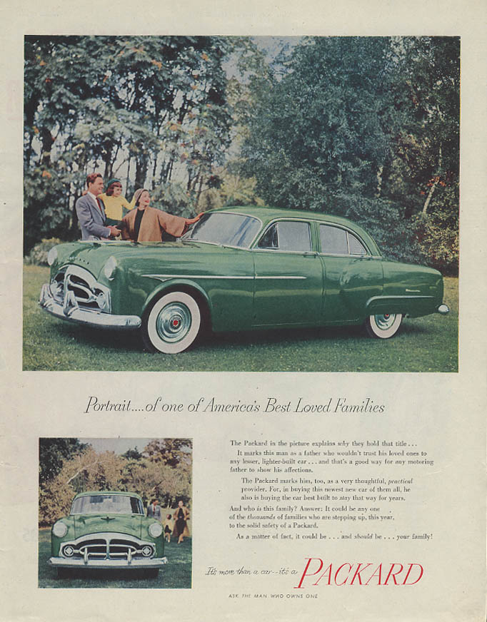 Portrait of one of America's Best Loved Families Packard Sedan ad 1951