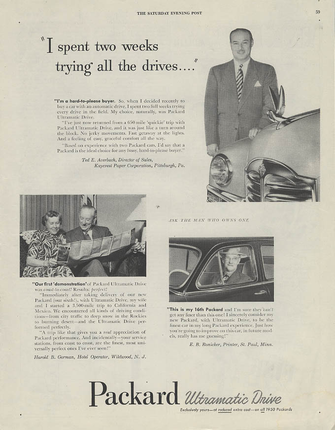 I spent two weeks trying all the drives Packard Ultramatic ad 1950