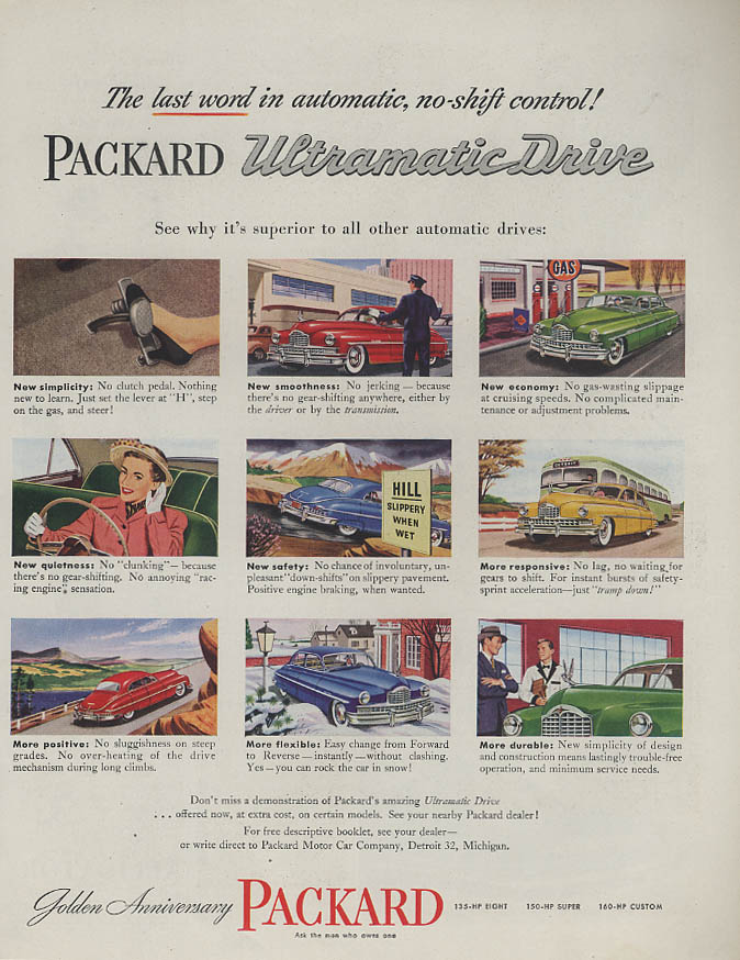Last word in no-shift control Packard Ultramatic Drive ad 1949