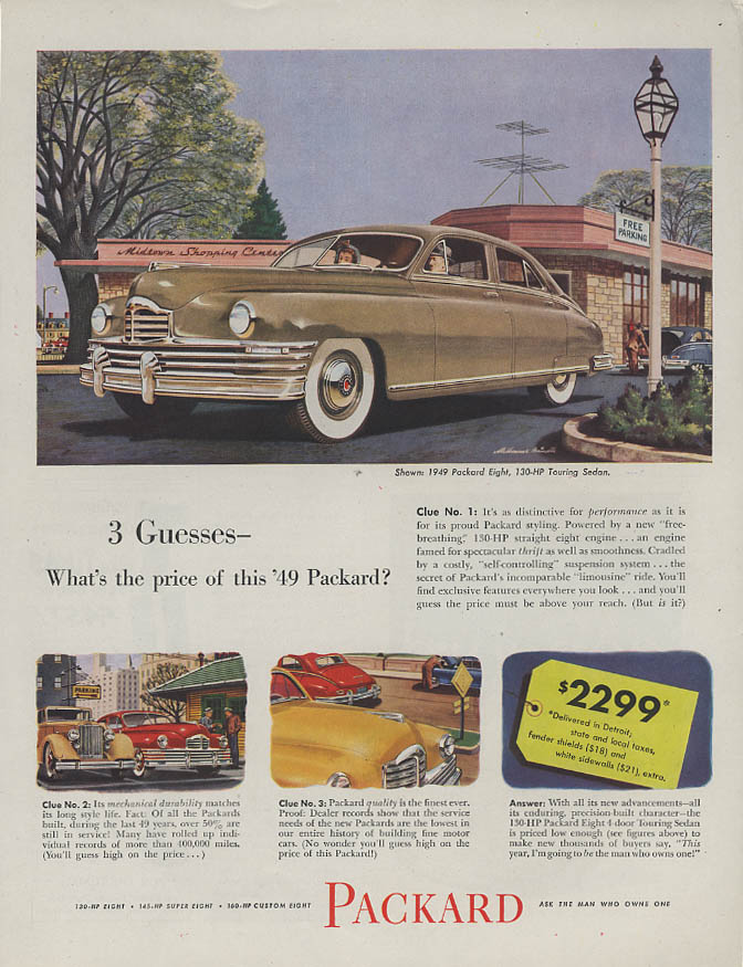 Image for 3 Guesses  - what's the price of this Packard Eight? ad 1949